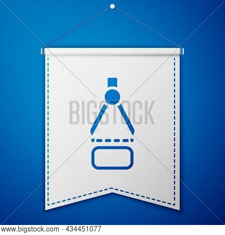 Blue Drawing Compass Icon Isolated On Blue Background. Compasses Sign. Drawing And Educational Tools