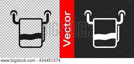 Black Towel On A Hanger Icon Isolated On Transparent Background. Bathroom Towel Icon. Vector