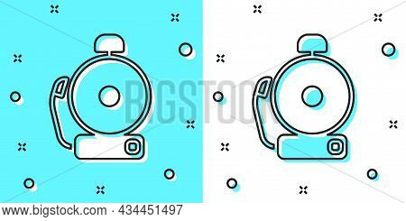 Black Line Ringing Alarm Bell Icon Isolated On Green And White Background. Alarm Symbol, Service Bel