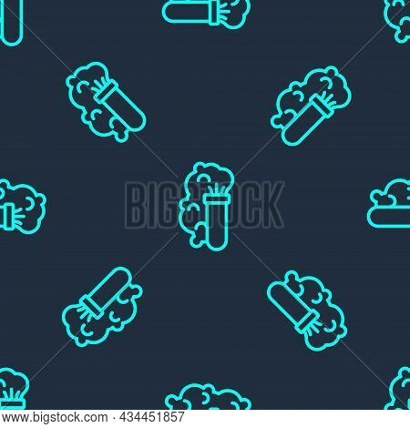 Green Line Chemical Experiment, Explosion In The Flask Icon Isolated Seamless Pattern On Blue Backgr