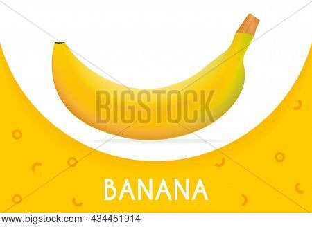 Side View Of Realistic Banana On White Background. Modern Minimalistic Banner Banana Design With Geo