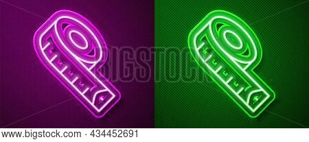 Glowing Neon Line Measuring Tape Icon Isolated On Purple And Green Background. Tape Measure. Vector