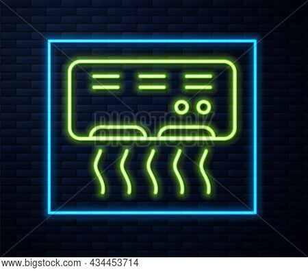 Glowing Neon Line Air Conditioner Icon Isolated On Brick Wall Background. Split System Air Condition