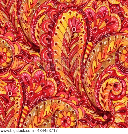 Seamless Pattern With Multicolor Paisley Print.  Watercolor Illustration.