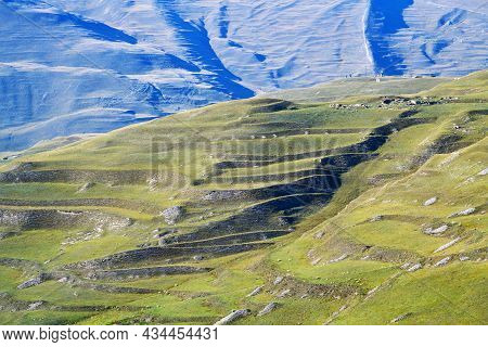 Man-made Terraced Agricultural Fields/ Caucasus Alpine Meadow And Mountains Landscape In Chechnya, R