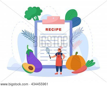Tiny Cook Standing In Front Of Recipe. Restaurant Menu, Recipe From Cooking Book, Vegetables, Vegan