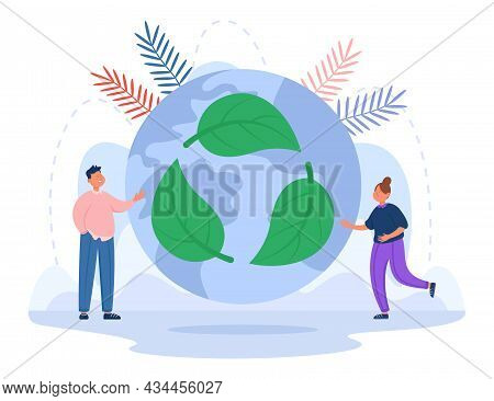 Cartoon Characters Next To Globe With Recycle Symbol. Green Energy, Save Planet, Reduce Carbon Pollu