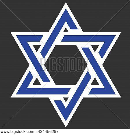 Star David Line Isolated Vector Element For Banner Design. Symbol Shield. Shekel Currency. Jerusalem