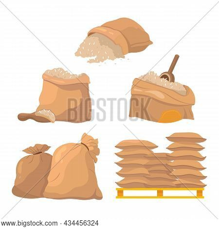 Sacks And Bags Full Of Rice Grains Set. Cartoon Vector Illustration Of Cereal Farm Harvest In Open O