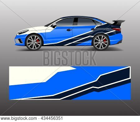 Car Wrap Decal Design Vector. Graphic Abstract Racing Designs For Vehicle, , Race, Adventure Templat