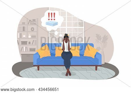 Stressing Over Work 2d Vector Isolated Illustration. Anxious Woman Thinking Of Paperwork. Frustrated