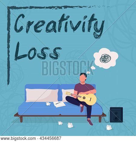 Musician Burnout Social Media Post Mockup. Creativity Loss Phrase. Web Banner Design Template. Artis