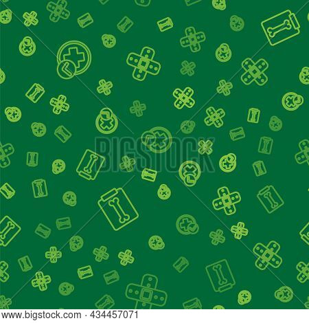 Set Line Cross Hospital Medical, X-ray Shots And Crossed Bandage Plaster On Seamless Pattern. Vector