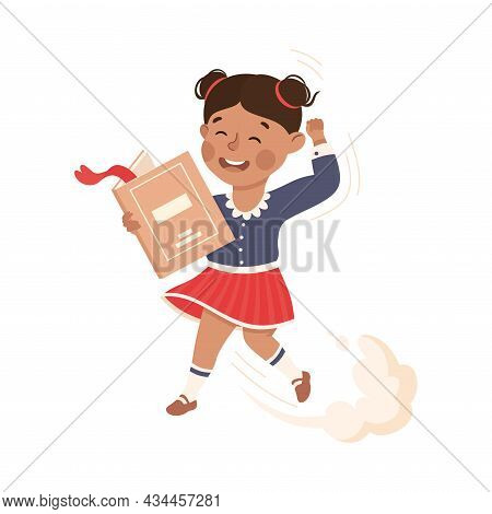 Superhero Little Girl At School Flying Up With Book Achieving Goal And Gaining Knowledge Vector Illu