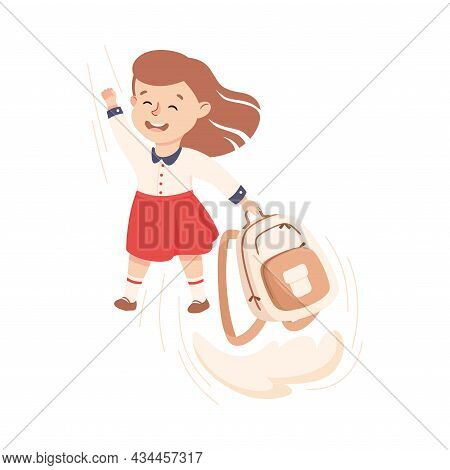 Superhero Little Girl At School Flying Forward With Backpack Achieving Goal And Gaining Knowledge Ve