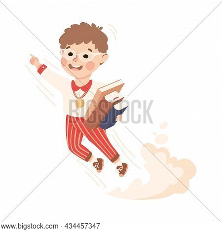 Superhero Little Boy At School Flying Forward With Books Achieving Goal And Gaining Knowledge Vector