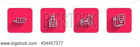 Set Line Car Muffler, Mechanic, Transporter Truck And Multimeter With Long Shadow. Red Square Button