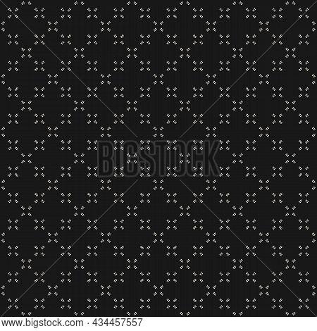 Minimalistic Background. Simple Geometric Minimalistic Pattern With Tiny Crosses. Black Subtle Abstr