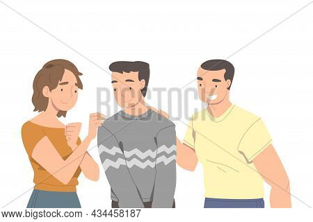 People Character Supporting Friend Encouraging Cheering Up And Raising His Spirits Vector Illustrati