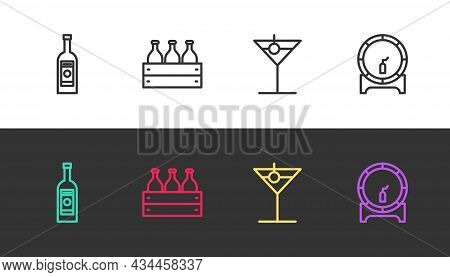 Set Line Glass Bottle Of Vodka, Bottles Wine In Wooden Box, Martini Glass And Wooden Barrel On Rack