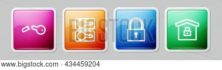 Set Line Broken Key, Casting Keys, Lock And House Under Protection. Colorful Square Button. Vector