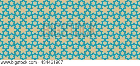 Vector Abstract Geometric Seamless Pattern. Traditional Moroccan Ornament With Lines, Elegant Lattic