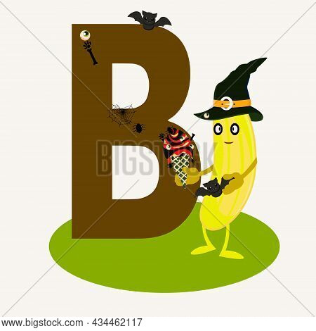 Letter B In The English Alphabet. Banana In The Style Of The Holiday Halloween.banana Eating Ice Cre