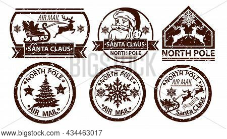 Christmas Mail Stamp, Vector Santa Claus Postage, North Pole Vintage Postal Sign Isolated On White.