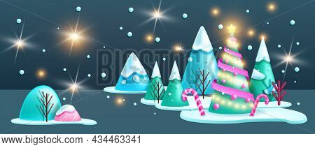 Winter Christmas Landscape, 3d Vector Night Holiday Abstract Forest Background, X-mas Scene, Pine Tr