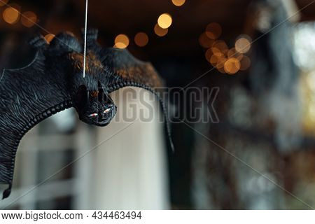 Big Scary Black Flying Hanging Toy Mouse.sparkling Garland, Lights.decorating Of Porch Outdoor On St