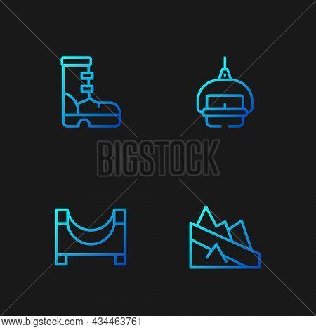 Set Line Mountain Descent, Skate Park, Waterproof Rubber Boot And Ski Lift. Gradient Color Icons. Ve