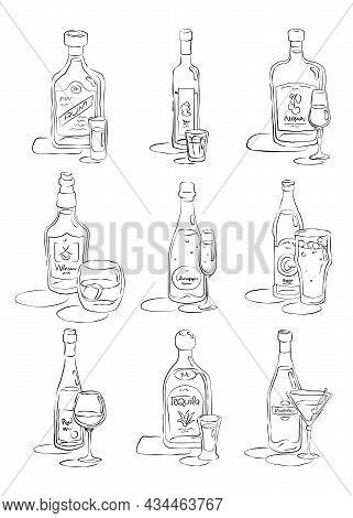Bottle And Glass Rum, Vodka, Liquor, Whiskey, Champagne, Beer, Wine, Tequila, Vermouth Together In H