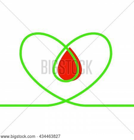 Linear Green Shape Heart Continuous Stroke With Blood Drop On White Background. Modern Illustration
