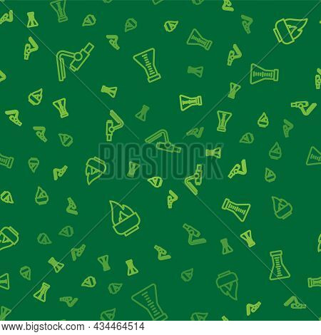 Set Line Microscope, Alcohol Or Spirit Burner And Test Tube And Flask On Seamless Pattern. Vector