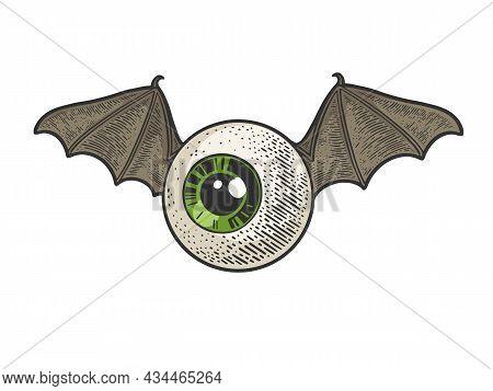 Flying Eye Eyeball Color Sketch Engraving Vector Illustration. T-shirt Apparel Print Design. Scratch