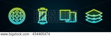 Set Line Sewing Button, Thread Spool, Textile Fabric Roll And Layers Clothing Textile. Glowing Neon