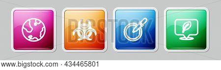 Set Line Earth Globe, Biohazard Symbol, Petri Dish With Pipette And Location Leaf. Colorful Square B