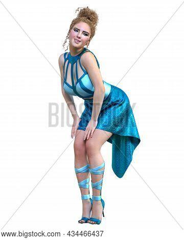 Beautiful Woman In Long Evening Dress.