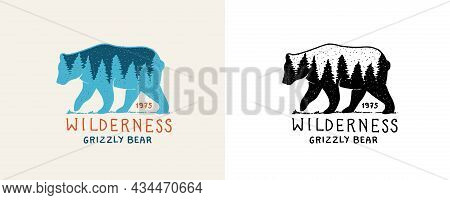 Bear With Forest Double Exposure. Tourism Symbol. Grizzly Silhouette T-shirt Design. Fir Forest. Eng