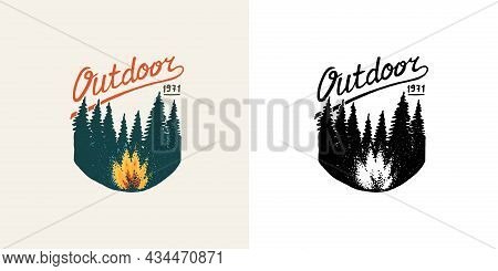 Christmas Trees With Fire Emblem. Outdoor Badge. Fir Forest. Engraved Hand Drawn In Old Vintage Sket