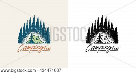 Christmas Trees With Tent Emblem. Camping Badge. Fir Forest. Engraved Hand Drawn In Old Vintage Sket
