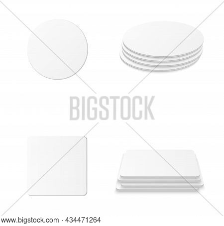 Circle And Square Beer Coaster. Empty White Mockup. Pprotection Coaster For Beer Glasses, Tea Cups I