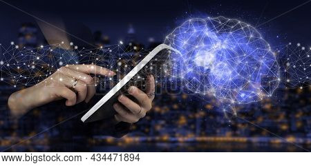 Artificial Intelligence Ai . Digital Brain Artificial Intelligence. Hand Touch White Tablet With Dig