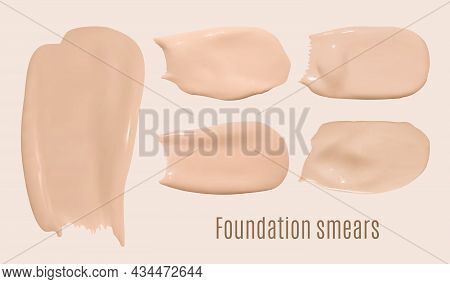 Color Foundation Smudges. Makeup Concealer Texture. Brown Fashion Swatch. Face Shade Powder. Vector