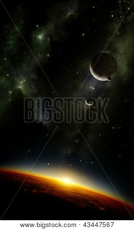Illustration of an alien planet viewed from orbit in space with three moons and the sun setting over its horizon