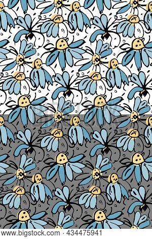 Chamomile Floral Vector Seamless Pattern. Hand Drawn Black Ink Brush Stroke Contour, Daisy Meadow Fl