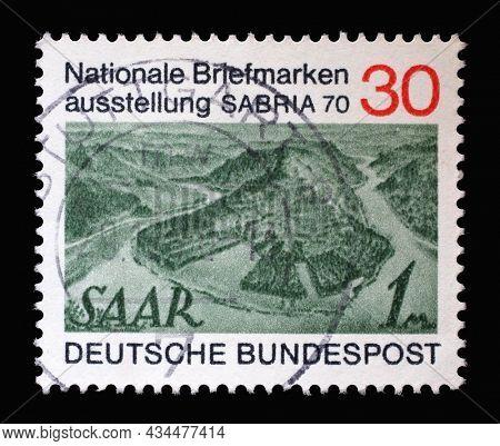 ZAGREB, CROATIA - JUNE 27, 2014: Stamp printed in Germany showing Saar stamp Number 171, National stamp exhibition SABRIA 70, circa 1970
