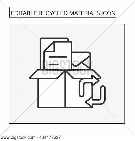 Paper Recycling Line Icon. Recycle Letters, Papers And Boxes. Ecology.waste. Recycled Materials Conc