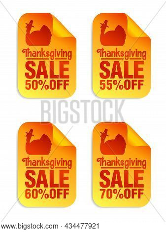 Thanksgiving Sale Orange Stickers Set 50%, 55%, 60%, 70% Off, Turkey With Pilgrim Hat. Vector Illust