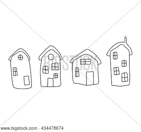 The Houses Are Hand-drawn With A Black Outline. A Set Of House Icons. Vector Houses